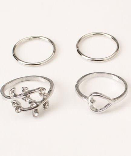 Σετ 4 Δαχτυλίδια Με Στρας