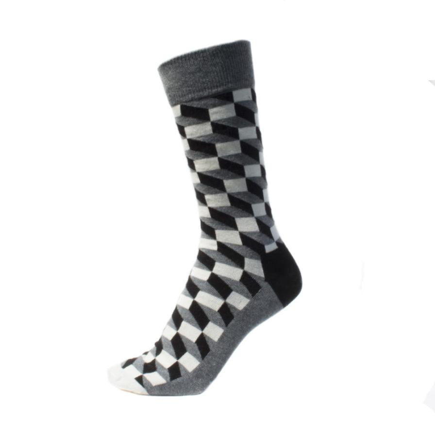 Σετ Ανδρικές Κάλτσες Ψηλές Με Πουα - Τετράγωνα