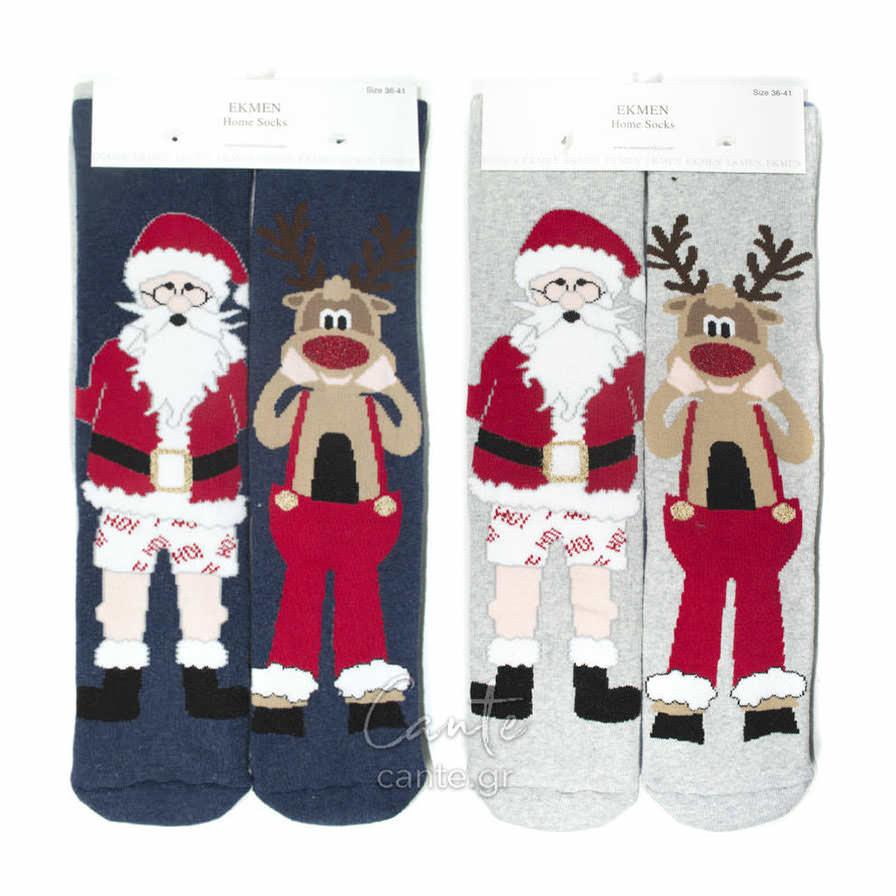 Χριστουγεννιάτικες Γυναικείες Κάλτσες Πετσετέ cante.gr