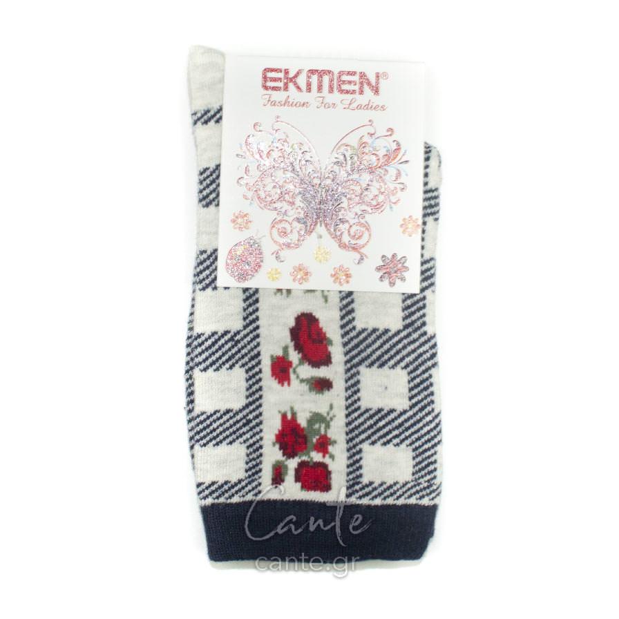 Γυναικεία Κάλτσα Ψηλή με Λουλούδια