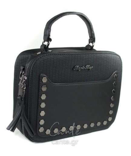 Τσάντα από συνθετικό δέρμα με διακοσμητικό μεταλλικό κλειδί στις λαβές. Σε ένα ξεχωριστό συνδυασμό χρωμάτων. Περιέχει αποσπώμενο λουράκι ώμου.