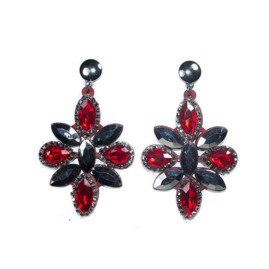 Γυναικεία Σκουλαρίκια Με Πέτρες Κόκκινες