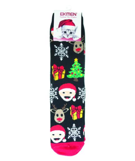 Γυναικείες Κάλτσες Χριστουγεννιάτικες Πετσετέ Μαύρες
