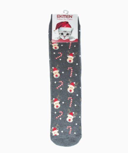 Γυναικείες Κάλτσες Χριστουγεννιάτικες Πετσετέ Γκρι