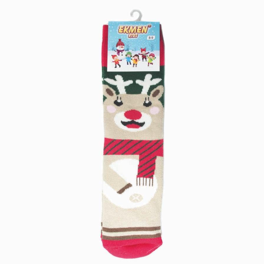 Χριστουγεννιάτικες Κάλτσες Παιδικές Πετσετέ Τάρανδος