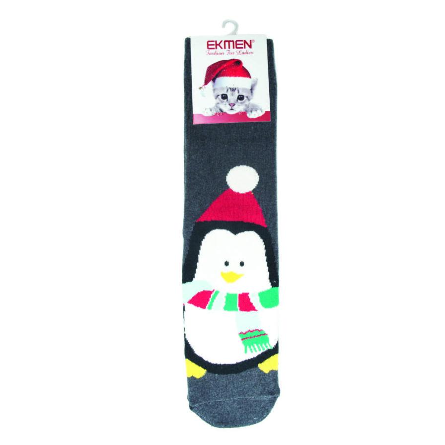 Γυναικεία Κάλτσα Χριστουγεννιάτικη Πετσετέ Πιγκουίνος