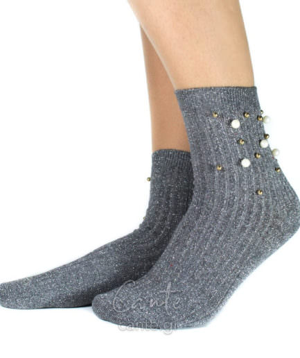 Ψηλές Κάλτσες Με Πέρλες Γκρι