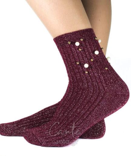 Ψηλές Κάλτσες Με Πέρλες Μπορντό
