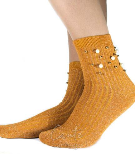 Ψηλές Κάλτσες Με Πέρλες Μουσταρδί