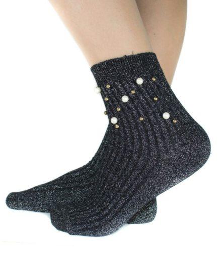 Ψηλές Κάλτσες Με Πέρλες Ανθρακί