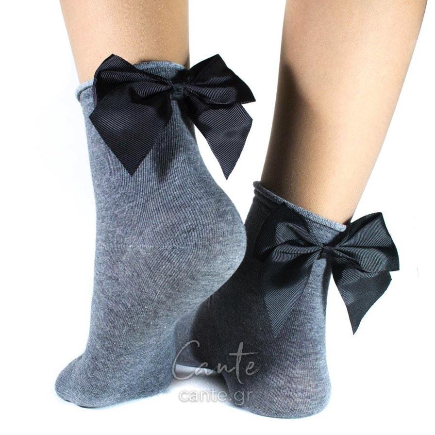 Κοντές Κάλτσες Με Φιόγκο Γκρι - Cante c42f2e37e04