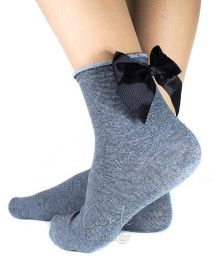 Κοντές Κάλτσες Με Φιόγκο Γκρι