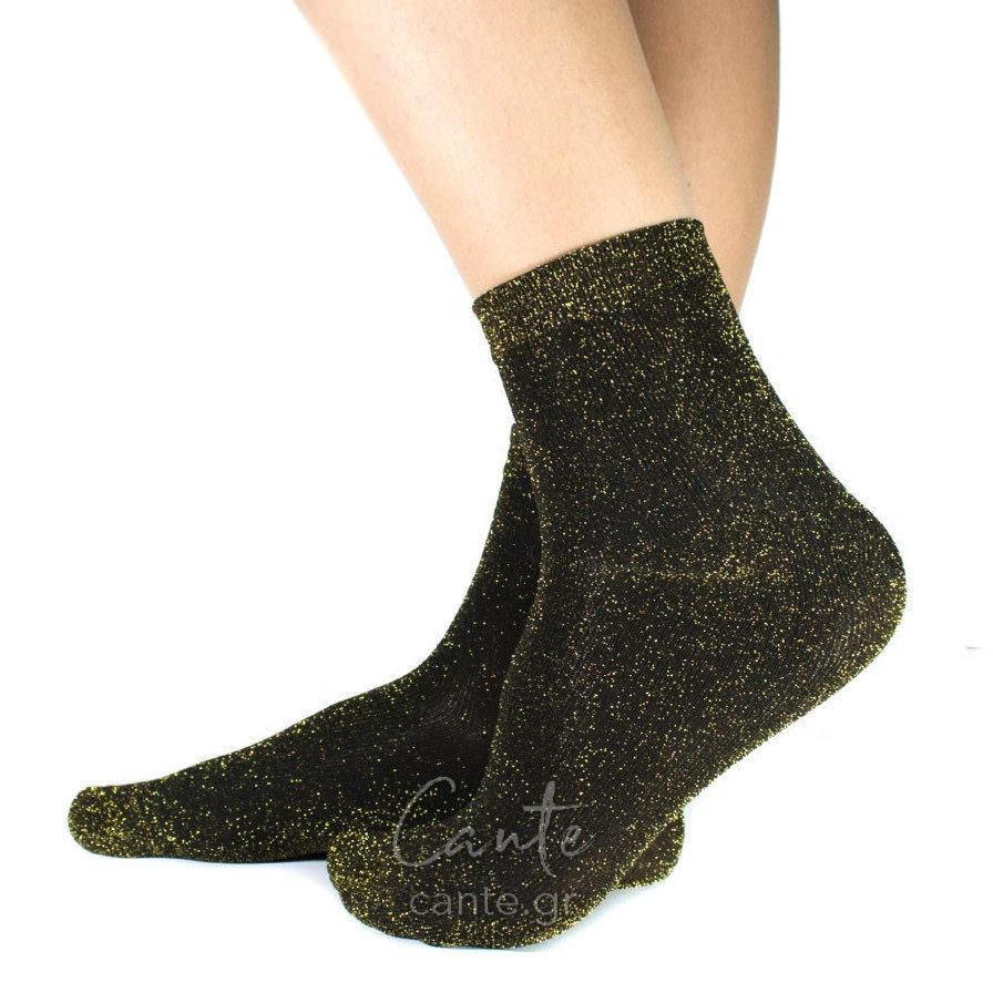 Κοντές Κάλτσες Με Γκλίτερ Χρυσό - Cante b7605df66f5