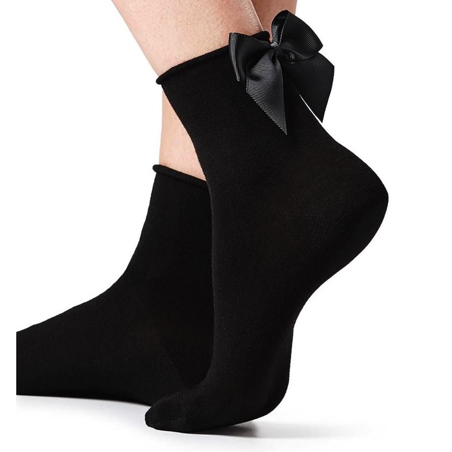 Κοντές Κάλτσες Με Φιόγκο Μαύρο