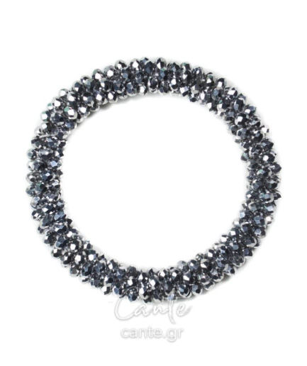 Βραχιόλι Με Πέτρες Ασημί-Μαύρο