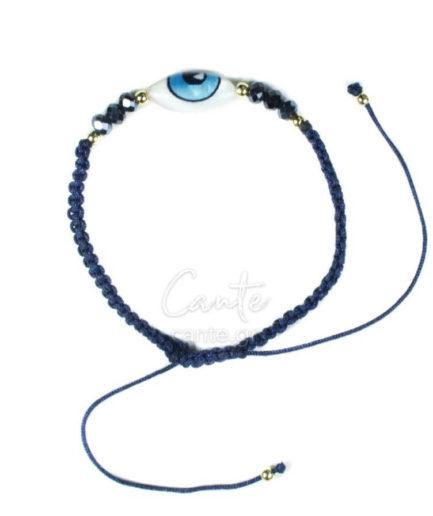 Βραχιόλι χειροποίητο μακραμέ Evil's Eye Μπλε