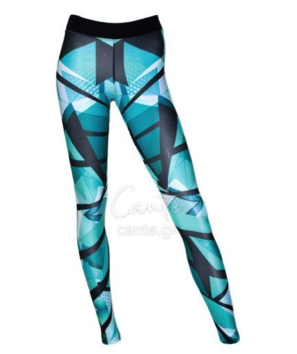Γυναικείο Αθλητικό Κολάν Με Σχέδιο Γαλάζιο