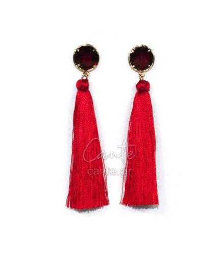 Γυναικεία Σκουλαρίκια Με Φούντα Κόκκινο