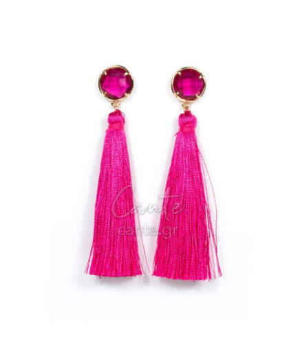 Γυναικεία Σκουλαρίκια Με Φούντα Φουξ