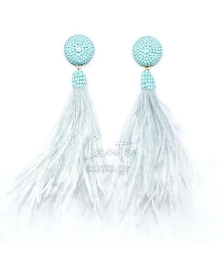 Γυναικεία Σκουλαρίκια Με Φτερά Γαλάζια