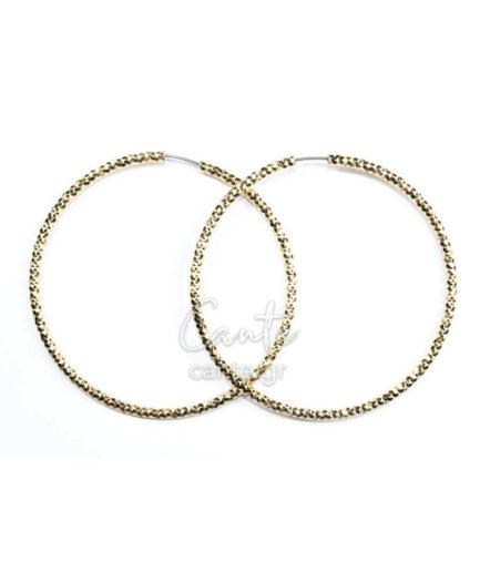 Γυναικεία Σκουλαρίκια Hoops Ανάγλυφα Χρυσά