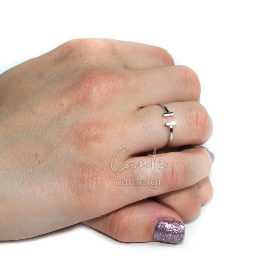 Δαχτυλίδι Με Σχέδιο Ασημί