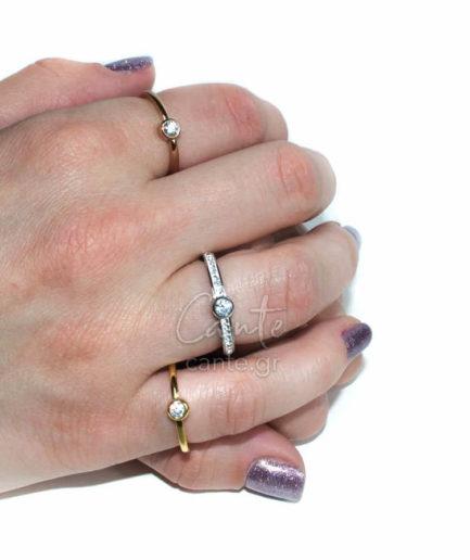 Σετ 3 Δαχτυλίδια Με Στρας