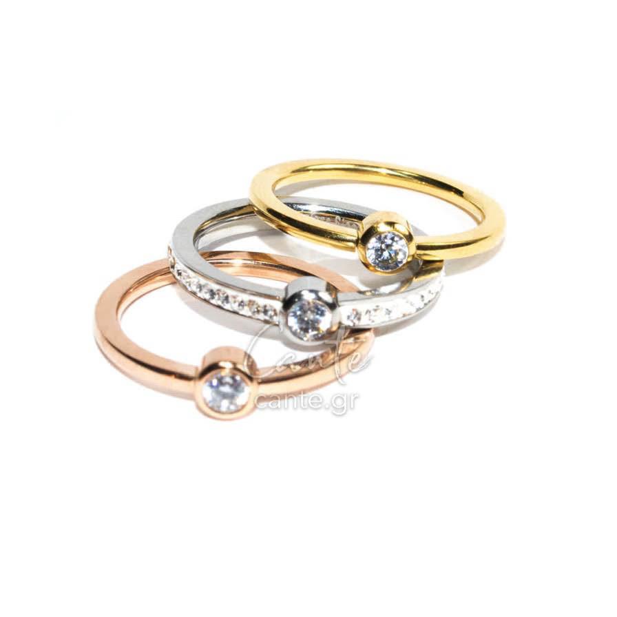 Σετ 3 Δαχτυλίδια Με Στρας - Γυναικεία Δαχτυλίδια - Cante 036e6a6f067