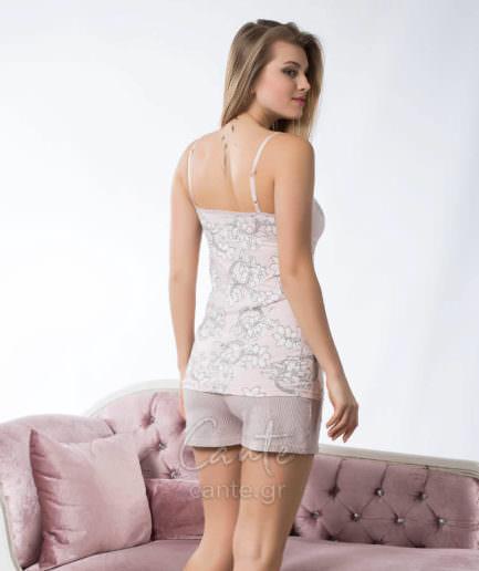 Γυναικείο Πυτζάμα Τιραντέ Ροζ-Γκρι