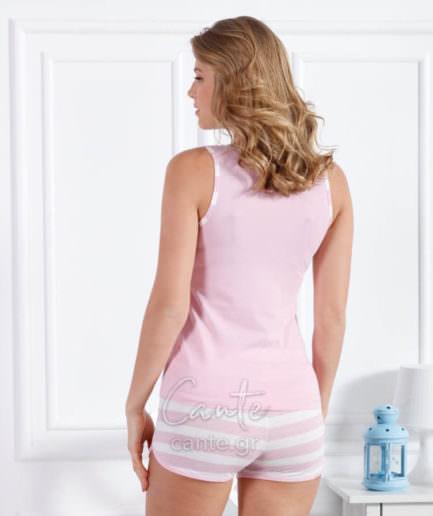 Γυναικείο Πυτζάμα Με Χοντρή Τιράντα Ροζ