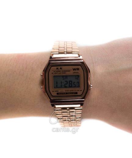 Γυναικείο Ρολόι Digital Bracelet Ροζ Χρυσό