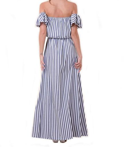Γυναικείο Φόρεμα Ριγιέ Γαλάζιο