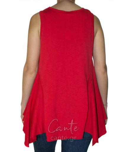 Γυναικεία Μπλούζα Ασύμμετρη Κόκκινη