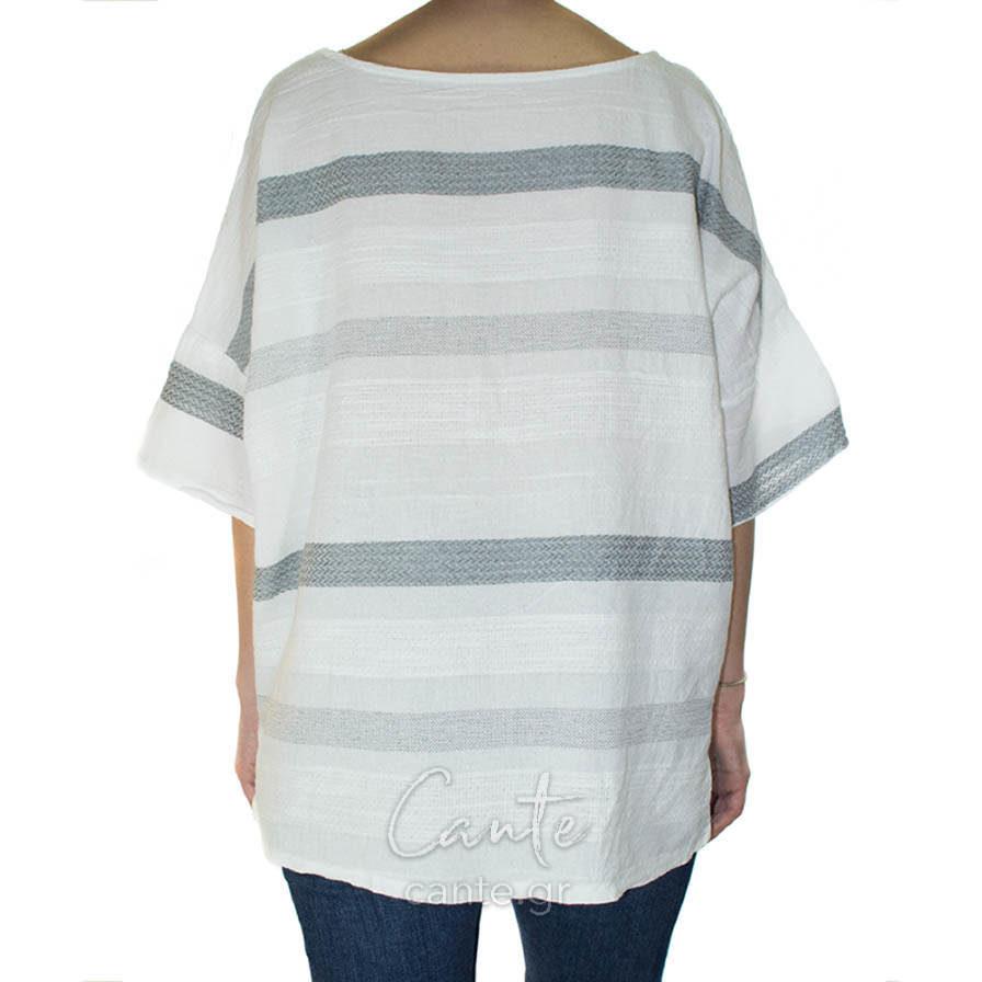 Γυναικεία Μπλούζα Ριγιέ Άσπρη