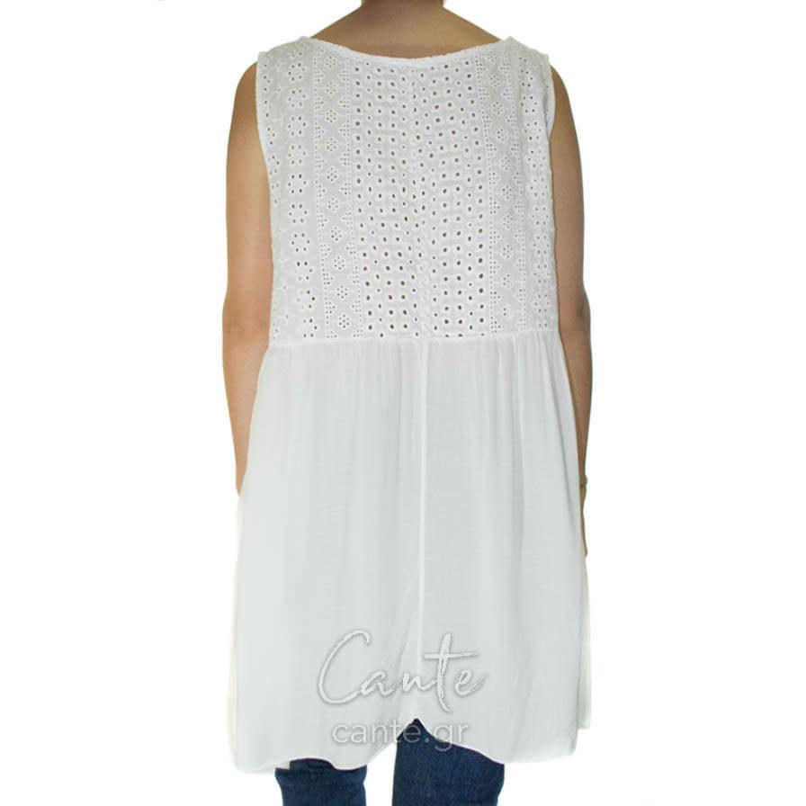 Γυναικεία Μπλούζα Αμάνικη Άσπρη