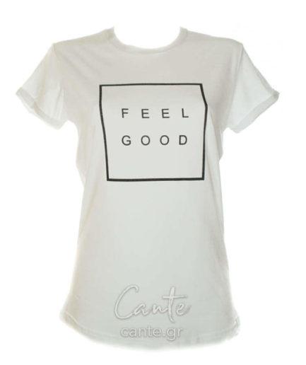 Γυναικείο T-Shirt Feel Good Άσπρο