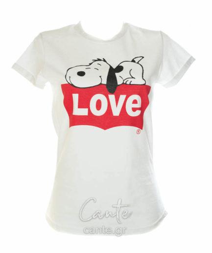 Γυναικείο T-Shirt Love Με Snoopy Άσπρο