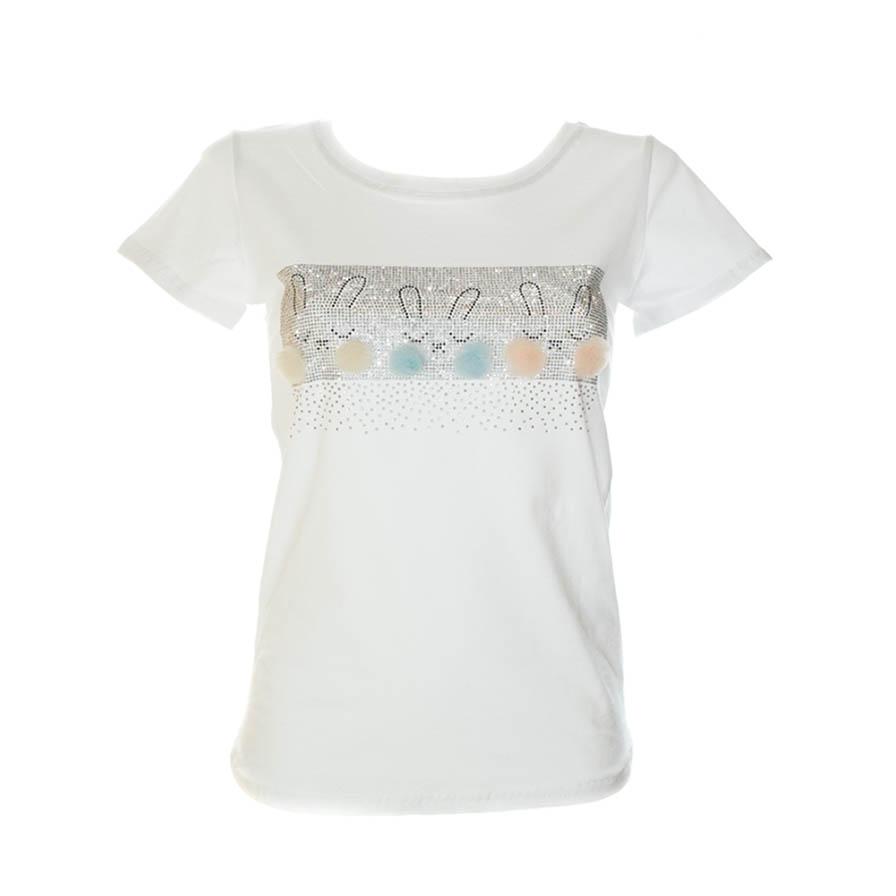 Γυναικείο T-Shirt Με Κουνελάκια Άσπρο