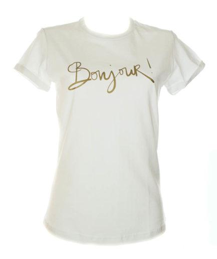 Γυναικείο T-Shirt Bonjour Άσπρο
