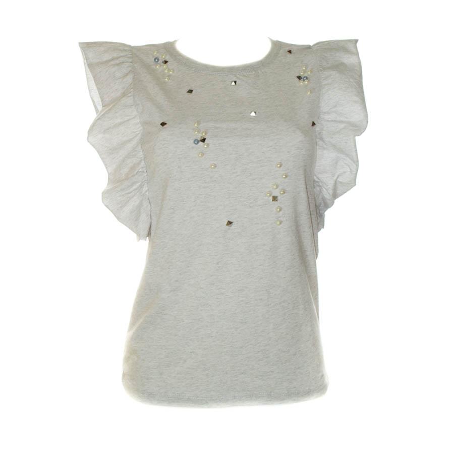 Γυναικείο T-Shirt Με Φραμπαλά Γκρι