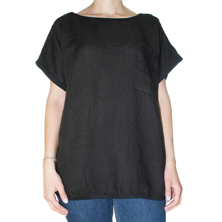 Γυναικεία Μπλούζα Λινή Μαύρη