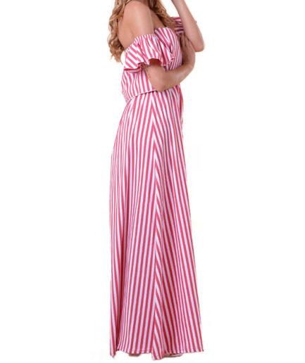Γυναικείο Φόρεμα Ριγιέ Κόκκινο