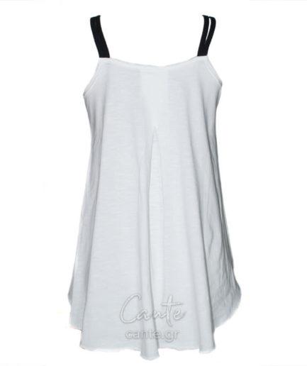 Γυναικεία Μπλούζα Ασύμμετρη Τιραντέ Άσπρη