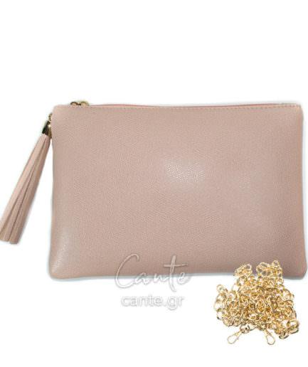 Γυναικεία Δερμάτινη Τσάντα Χειρός Ροζ