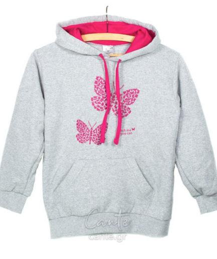 Παιδικό Φούτερ Με Πεταλούδες Γκρι