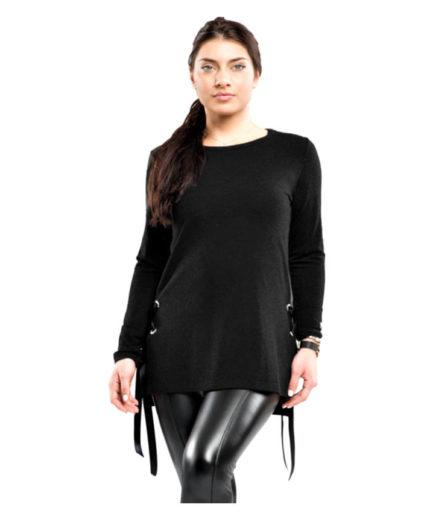 Γυναικεία Μπλούζα Με Κορδόνια Ανθρακί