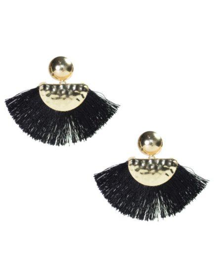 Γυναικεία Σκουλαρίκια Με Φούντες Μαύρα