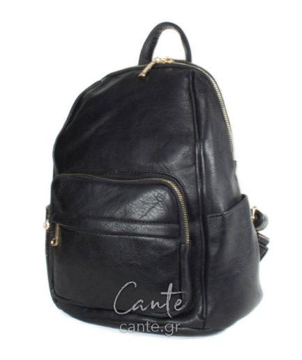Τσάντα πλάτηςμονόχρωμη με φερμουάρ και θήκη στο μπροστά μέροςσε μαύρη απόχρωση.