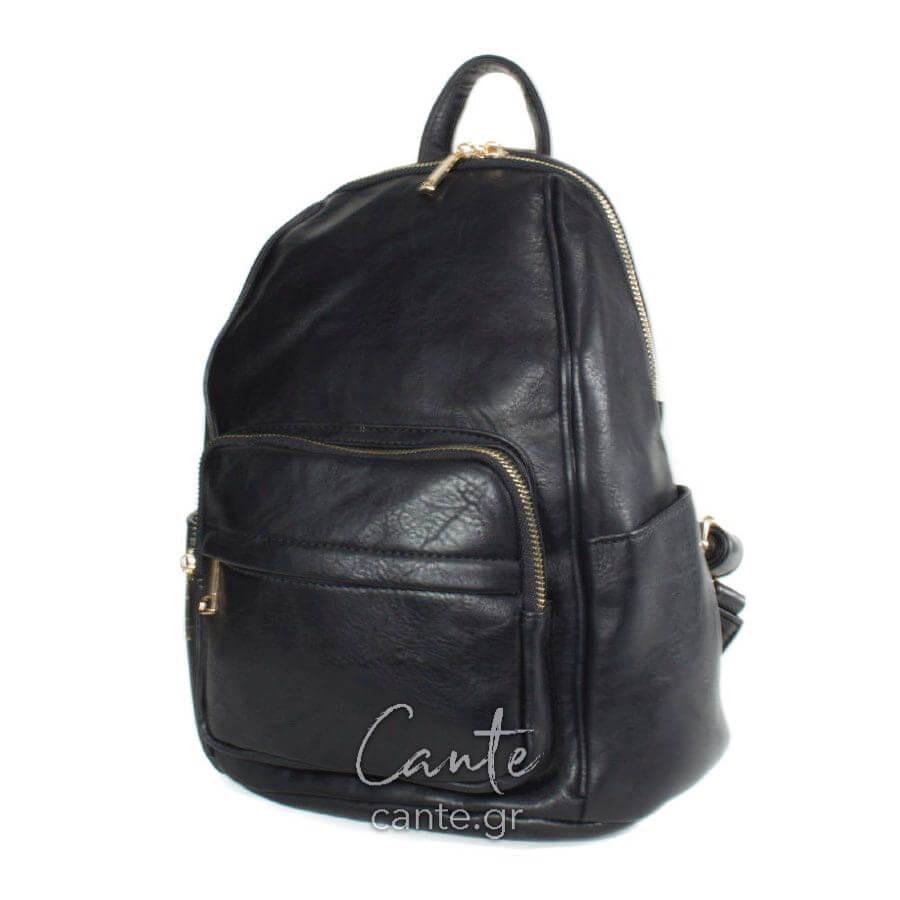 Τσάντα πλάτης μονόχρωμη με φερμουάρ και θήκη στο μπροστά μέρος σε μαύρη  απόχρωση. 5c78d9fba5b