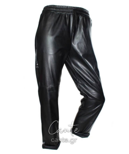 Γυναικείο Παντελόνι Δερματίνη Μαύρο